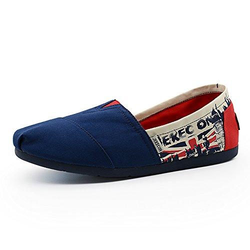 JEKECON JK-9509 Men's Classic Slip On Canvas Flats Comfortable Alpargatas Casual Shoes blue-red 9