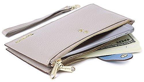 08. Borgasets Women's Genuine Leather Zipper Wallet Card Case Purse