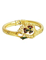 Gold Plated Hinge Bracelet With Peacock Design - Metal