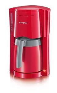 Severin KA 4117 Kaffeeautomat bis 8 Tassen mit 2 Thermokanne, rot-grau