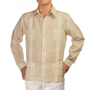 Boys linen guayabera shirt in natural. Final sale