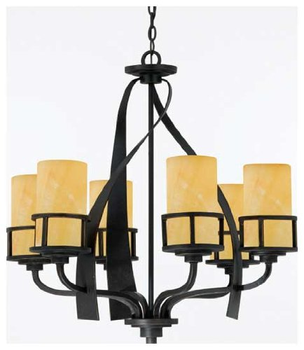 B001Q1C6A4 Quoizel KY5006IB Kyle 28-Inch 6-Lights Chandelier with Butterscotch Marble Shade, Imperial Bronze
