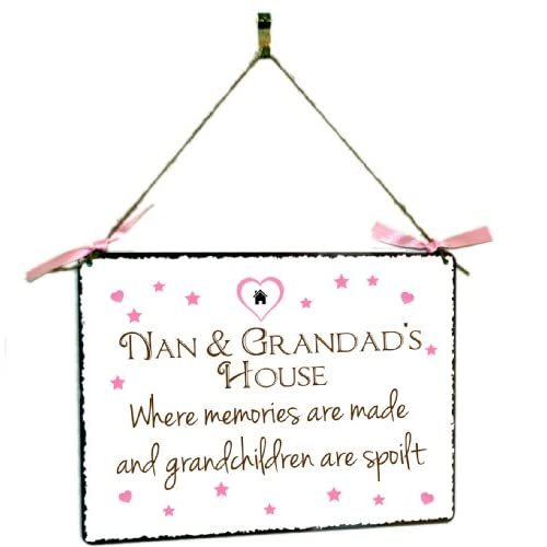 Nan and Grandad's House Hanging Vintage Style Metal Wall Plaque Gift Sign