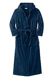 Kingsize Men\'s Big & Tall Terry Velour Hooded Maxi Robe, Navy Tall-4Xl/5X