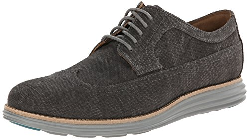 Cole Haan Men's Lunargrand Long Wing Oxford, Pewter Canvas,