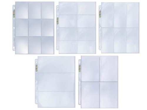 25 Coupon Album Pages Sample Pack - 5 Popular Styles Assorted Ultra Pro Platinum Quality Binder Pages (9 8 6 4 3 Pocket Configuration)