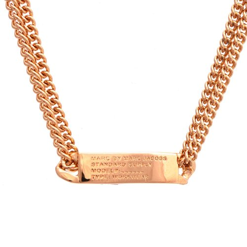 Marc By Marc JacobsMarc by Marc Jacobs Double Chain Standard Supply ID Tag Necklace, Rose Gold
