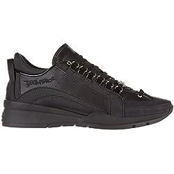 Dsquared2 scarpe sneakers uomo in pelle nuove 551 nero