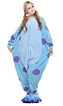 Newcosplay Unisex Adult Blue Monster Pyjamas Kigurumi Halloween Onesie Costume
