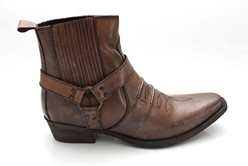 vintage brown leather cowboy ankle boots