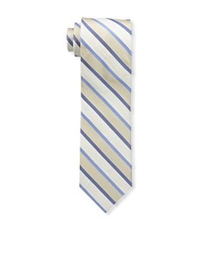 Bruno Piattelli Men's Stripe Silk Tie, Ecru