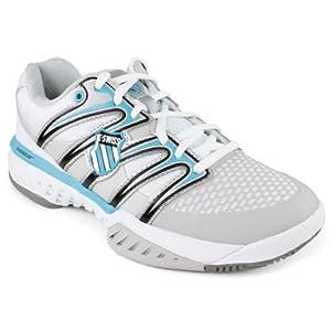 K-Swiss Women's Bigshot Tennis Shoe,White/Fiji Blue/Gull Grey,6.5 M US