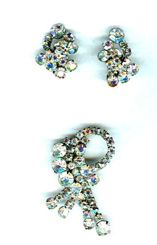 Vintage Aurora Borealis Rhinestone Pin & Earrings