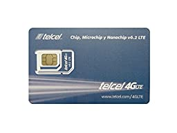 Telcel Mexico Prepaid SIM Card with 4GB Data (LTE - Fits All Devices)
