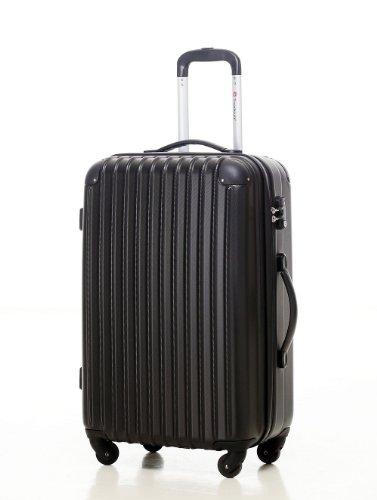 [Travelhouse]スーツケース キャリーケース 軽量 TSAロック ファスナータイプ 半鏡面仕上げ(M, black)
