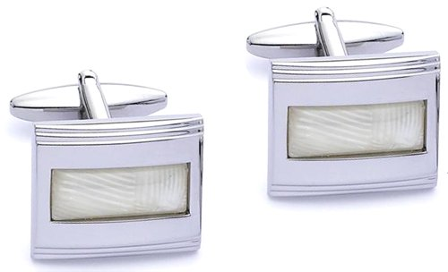 Code Red Base Metal Rhodium Plated Rectangular Cufflinks with Simulated 'Mother-of-Pearl' Centre