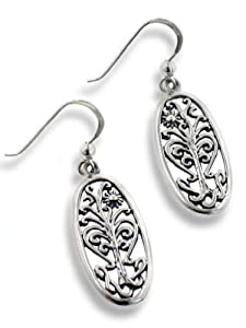 Flowering Tree of Life Religious Symbol Filigree Sterling Silver Oval Hook Earrings