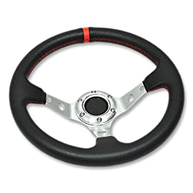 320mm Aluminum Deep Dish Racing Steering Wheel Silver Center Spoke