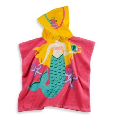 Kids Printed Mermaid Hooded Beach Towel In Multi/pink - 1