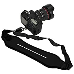 Generic Heavy Duty DSLR Shock-Absorbing Quick Sling Neoprene Wide Neck Shoulder Single Camera Shoulder Strap Belt Strap Neck Strap for Canon Sony Nikon Panasonic Olympus Cameras (with screw)