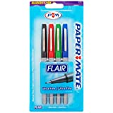 Paper Mate Flair Porous-Point Felt Tip Pen, Ultra-Fine, 4-Pack, Core Colors (62159)