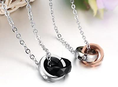 EUBEST Christmas Gifts Fation Necklace Lover's Rings Stainless Steel Necklace Couple Jewelry Promise Forever one pair