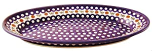 EuroQuest Imports Bunzlauer Polish Pottery Deep Oval Platter in Country Blue Pattern