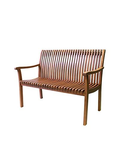 Outdoor Interiors Eucalyptus Venetian Bench, Brown