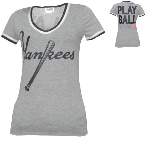 75782915b2  1 WOMENS Pink Victoria s Secret MLB New York Yankees V-Neck T Shirt - Grey