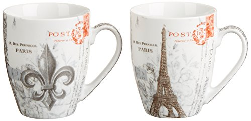 Paperproducts Design 601118 Gift Box Porcelain Mugs, 14-Ounce, Vintage Paris, Set of 2