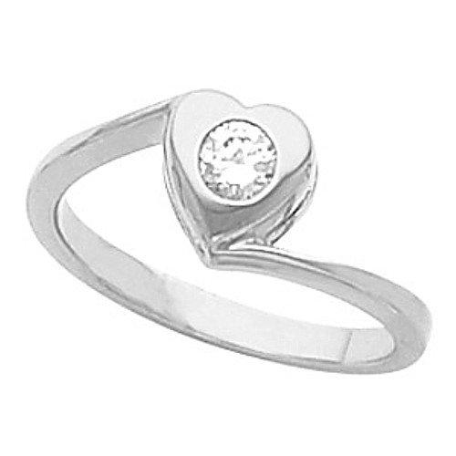10K White Gold Diamond Heart Ring - 0.15 Ct. - Size 6.5
