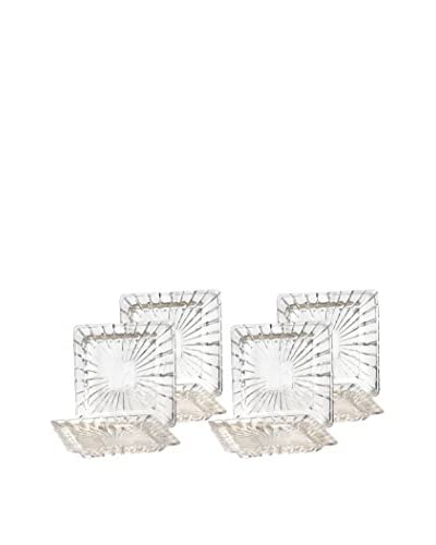 Crystal Clear Alexandria Set of 4 Square Plates, Clear