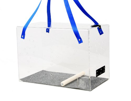 Cheap Crystal Shuttle Bird Carrier, Clear with Blue Carrying Strap, 18.5-Inches L x 10-Inches W x 13-Inches H (CS-3)