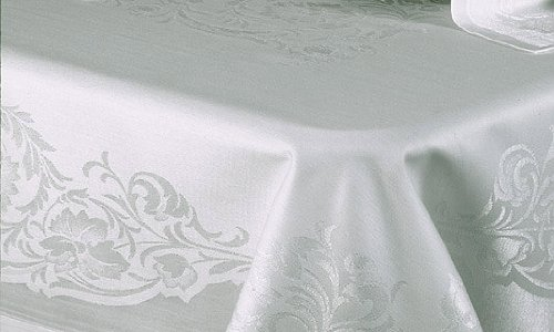 Floral Scroll Linen Damask - 68 x 88 Rectangular