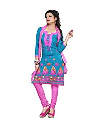 Shree Vardhman Synthetics Blue Semi Cotton Top Straight Unstiched Salwar Suit Dress Material