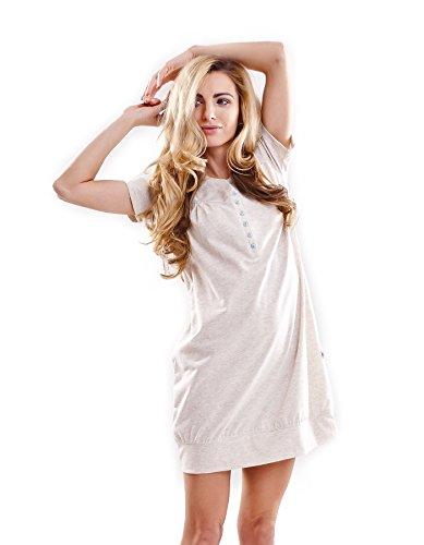 dn-nightwear -  Camicia da notte  - Basic - Maniche corte  - Donna beige M