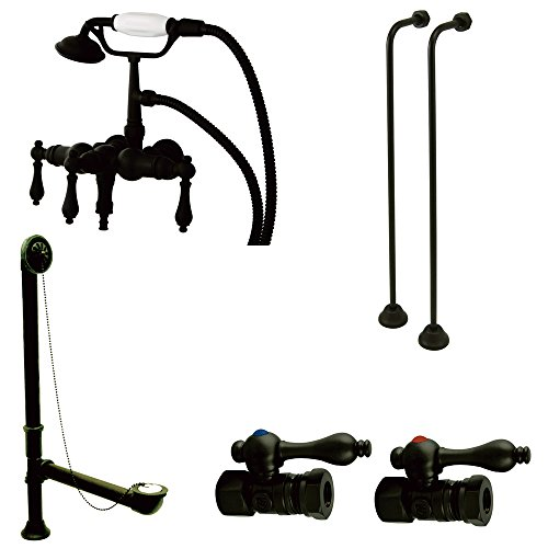 Kingston Brass CCK19T5A Vintage Down Spout Wall Mount Claw Foot Faucet Package, Oil Rubbed Bronze (Clawfoot Tub Supply Lines compare prices)