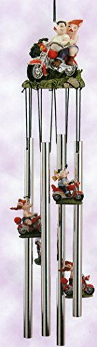 HOGs on Motorcycle - Pigs 3d Sculptured Resin Top 4 Tube Wind Chime Outdoor Decor 24 Inches, Harley HOG