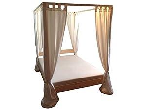 Himmelbett Bett Holz massiv, 90 100 120 140 160 180 200 x 200cm, Hergestellt in Deutschland (180cm x 200cm)  Kritiken und weitere Informationen