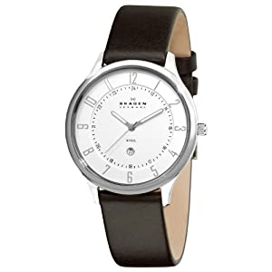 Skagen Men's 820XLSLD Steel Silver Dial and Brown Strap Watch