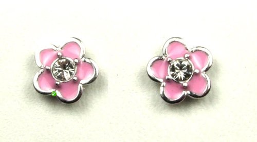 Bambini orecchini fiore rosa laccato con piccolo con cristalli Swarovski