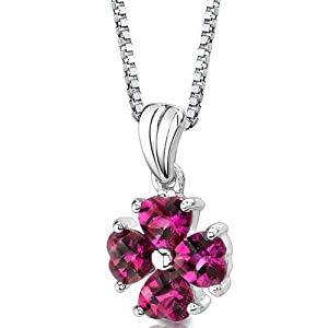 Sterling Silver Heart Shape Checkerboard Cut Ruby Pendant Necklace
