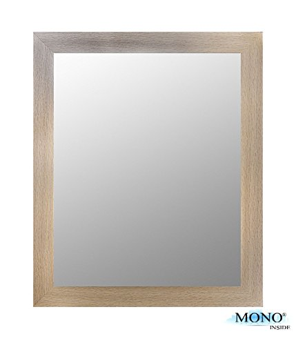 MONOINSIDE Framed Decorative Wall Mounted Mirror, Wooden Finish Frame, 23
