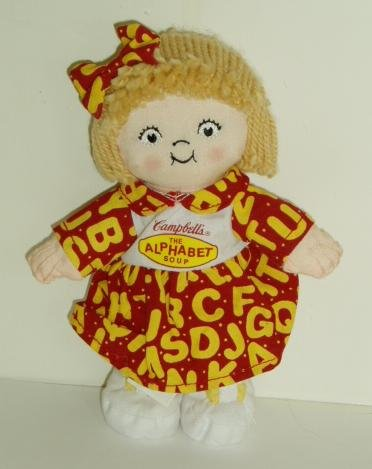 2001 Campbells Soup Girl Bean Bag Doll Plush 7.5""