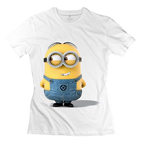 Jiuzhou Women's T Shirt Minions Mark Looking Right White