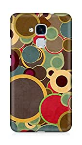 Amez designer printed 3d premium high quality back case cover for Huawei Honor 5C (Colorful Circles Blue Red Brown)