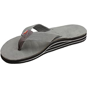 Rainbow Mens Double Layer Premier Leather with Arch Support Sandal, Grey, X-Large
