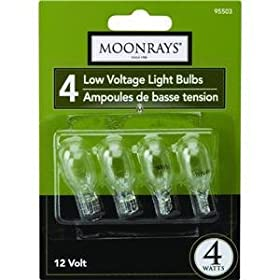 Moonrays 95503 Wedge Base Light Bulbs, 4-Pack, Clear, 4-Watt