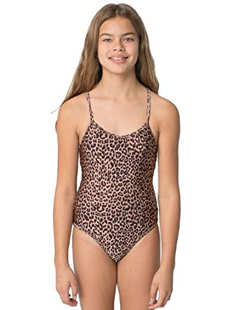One-Piece Bathing Suit - Shiny Peach Cheetah / 10 Years: Clothing