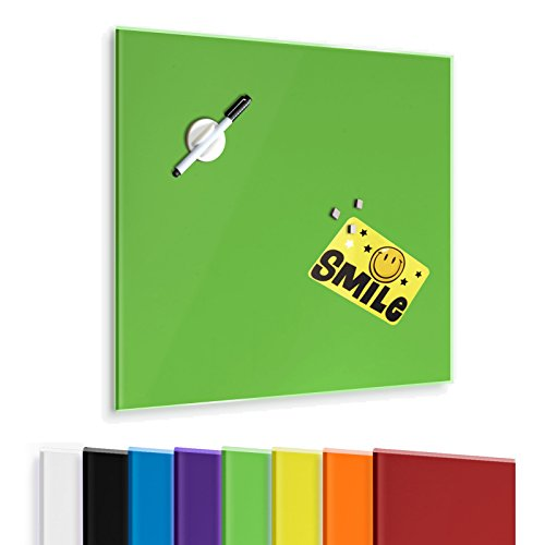 Master of Boards® Glass Magnetic Memo Board, Green – 18″ x 20″ | 7 Colors Available | Scratch Resistant, Dry Wipe
